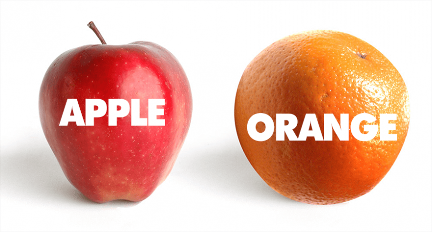 comparing apple to orange